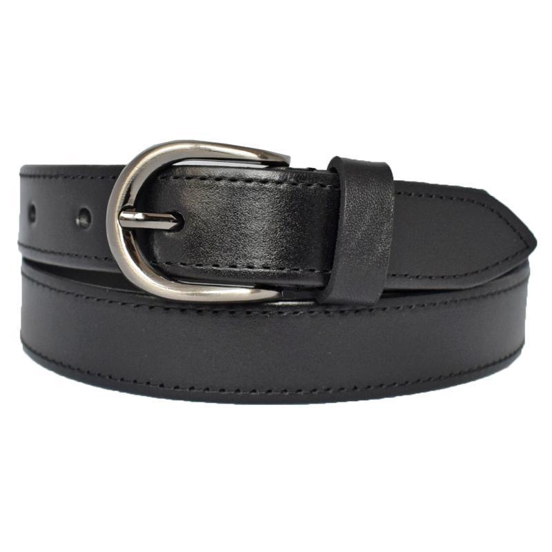 Ремень женский кожаный прошитый черный для джинсов Pleada
