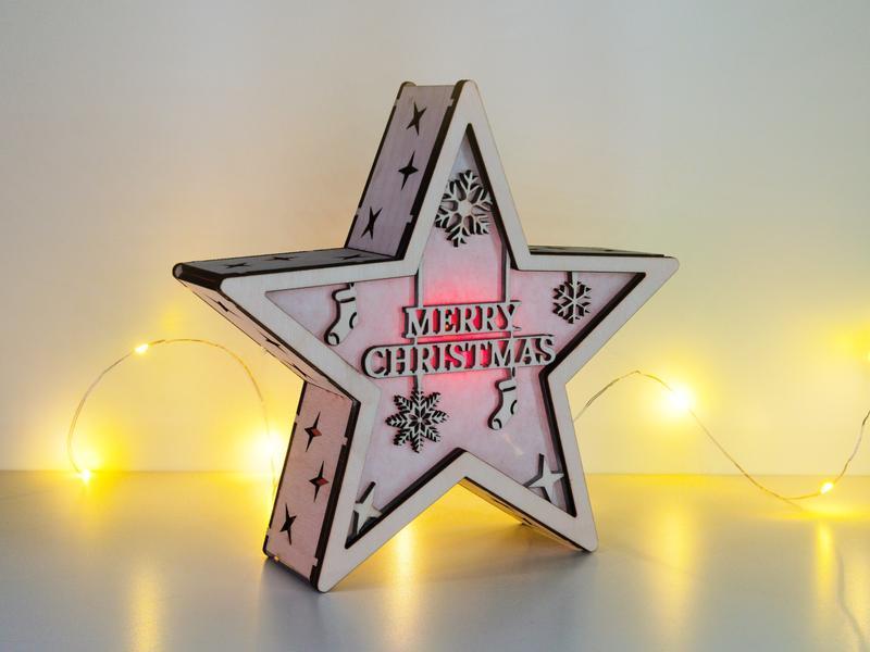"""Рождественский светильник - звезда """"Merry Christmas gifts"""""""