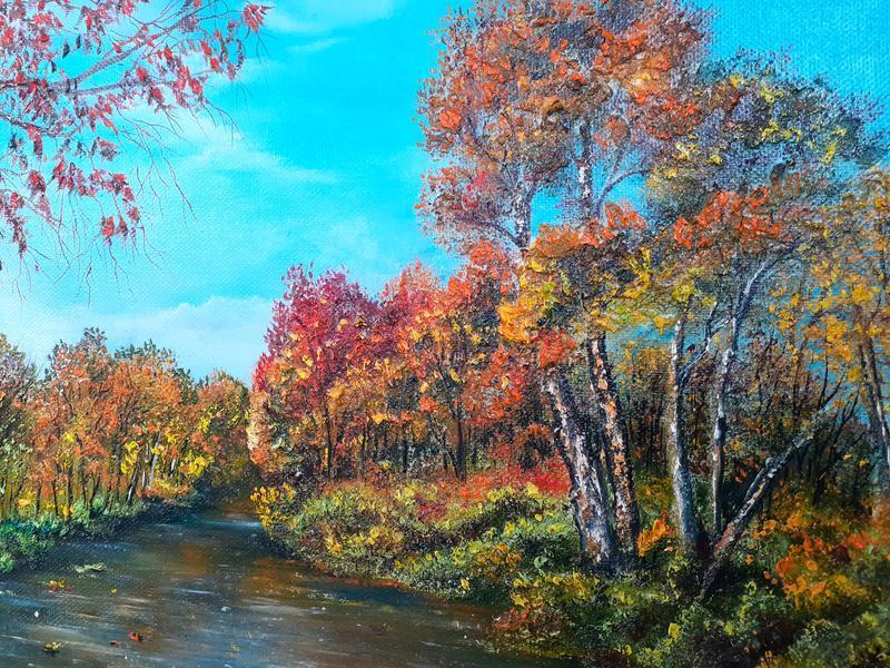 Картина маслом Осенний пейзаж.