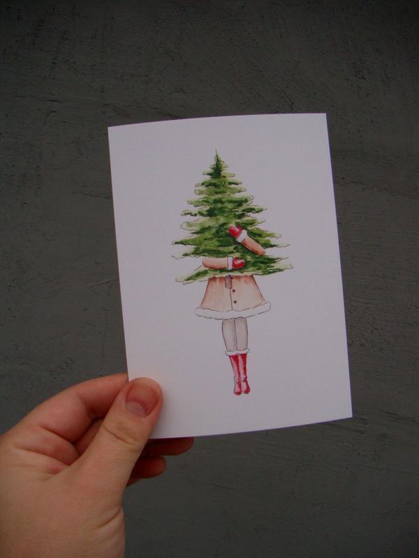 Открытка новогодняя Девушка с елкой