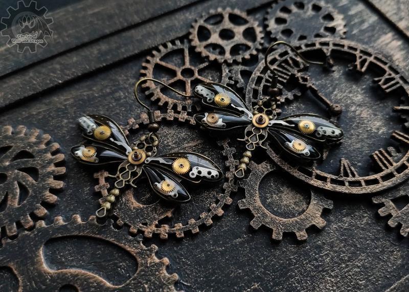 Стрекозы - серьги с шеренками от настоящих механических часов в стиле steampunk (последние)