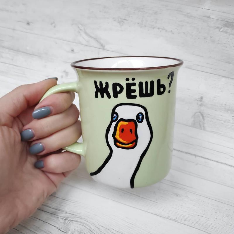 """Чашка с  росписью """"Гусь"""""""