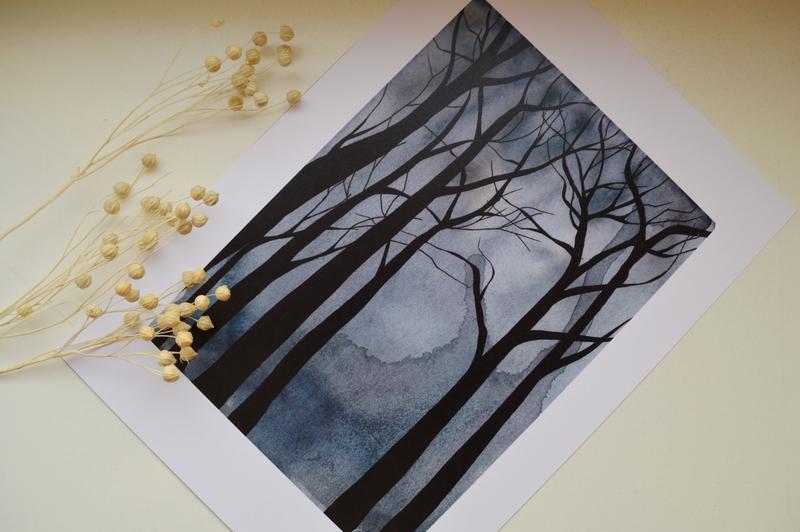 Постер в рамке. Авторская иллюстрация Мистический лес