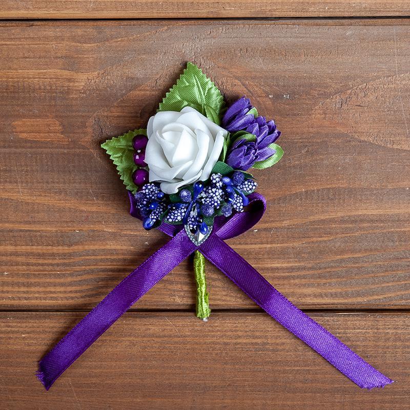 Бутоньерка для жениха, свидетеля и\или гостей фиолетовая