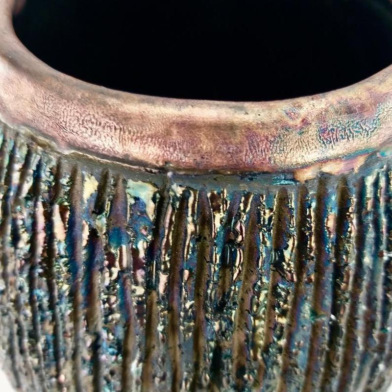 Керамическая ваза Раку ручной работы, черный и бронзовый, современный декор из глины, арт.№74