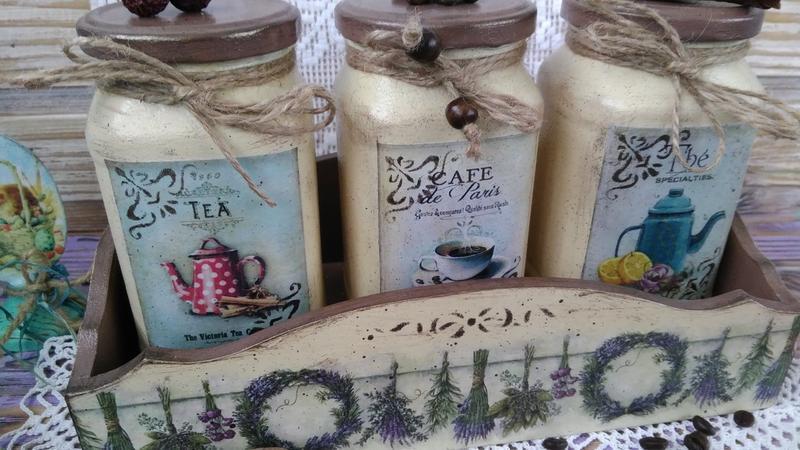Набор из подноса и баночек для чая - кофе