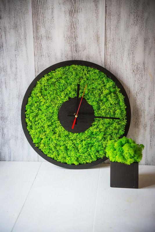 Часы из стабилизированного мха с кашпо