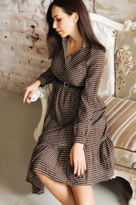 Шифоновое платье миди хаки с коричневым