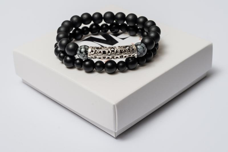 Парные браслеты мужские DMS Jewelry из шунгита, обсидиана GRAY METAL STYLE