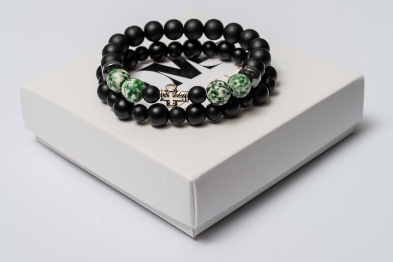 Парные браслеты мужские DMS Jewelry из шунгита, гематита, агата GREEN AGATE CROSS