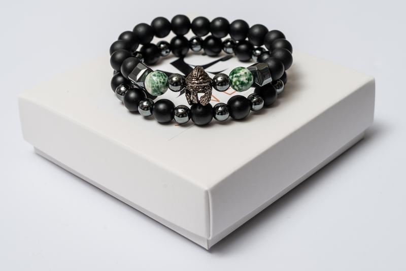 Парные браслеты мужские DMS Jewelry из шунгита, гематита, агата GREEN AGATE KNIGHT