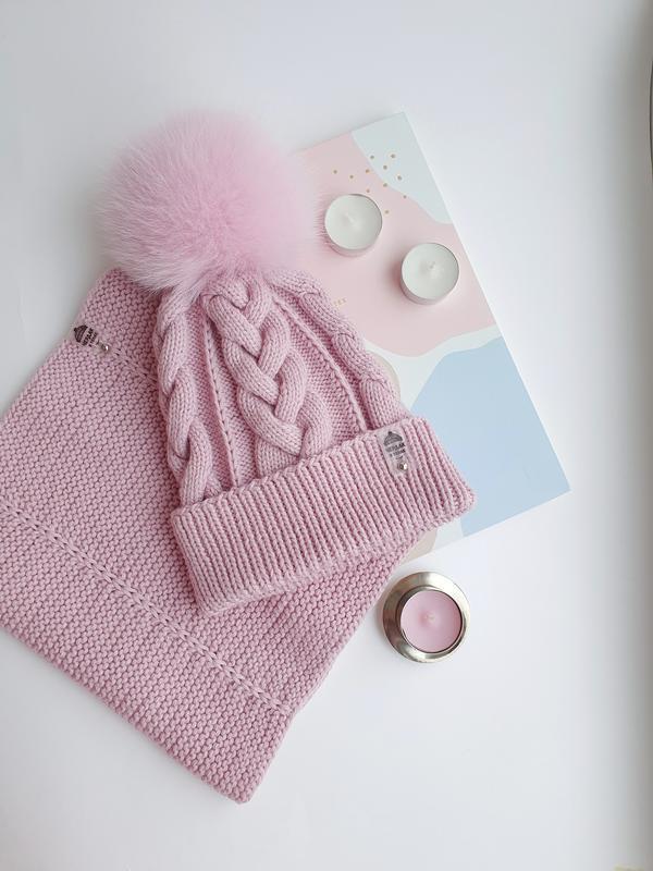 Дитячий комплект на дівчинку шапка і снуд рожевого кольору