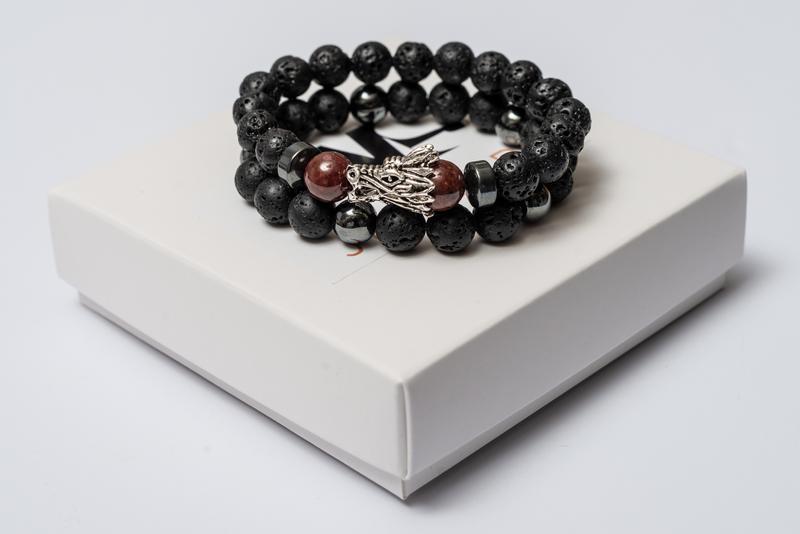 Парные браслеты мужские DMS Jewelry из лавового камня, гематита, граната с драконом RED DRAGON