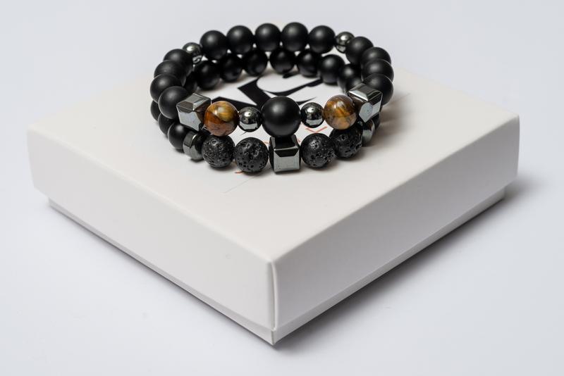 Парные браслеты мужские DMS Jewelry из шунгита, лавового камня, тигрового глаза BIG STONE & BROWN