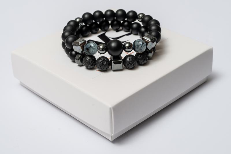 Парные браслеты мужские DMS Jewelry из шунгита, обсидиана, лавового камня BIG STONE & GREY