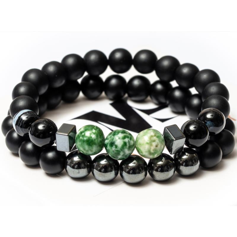Парные браслеты мужские DMS Jewelry из шунгита, гематита, агата BLACK AND GREEN AGATE