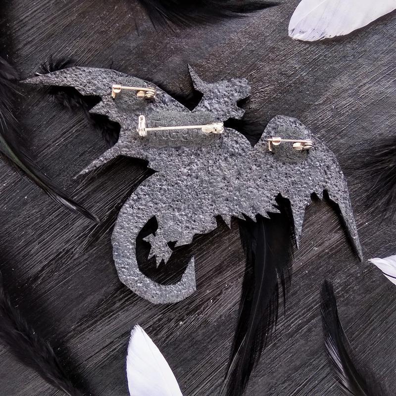 Авторская геометрическая брошь Дракон. Оригинальное полигональная брошь Дракон. фэнтези украшение