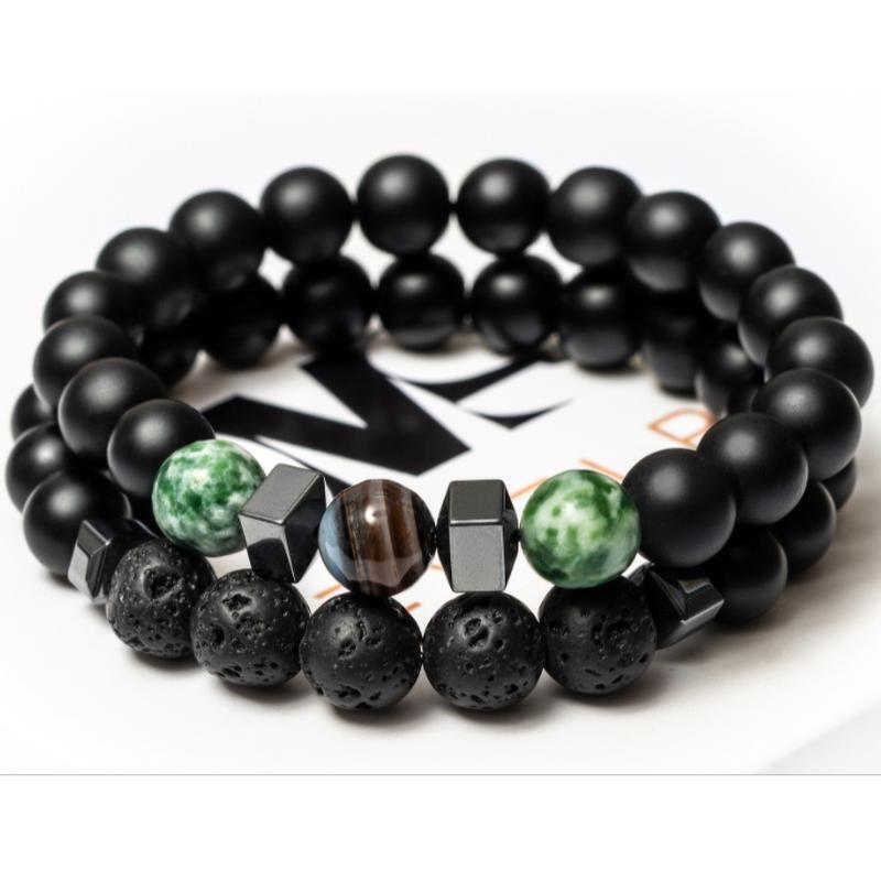 Парные браслеты мужские DMS Jewelry из шунгита, лавового камня, агата HARMONY of AGATE