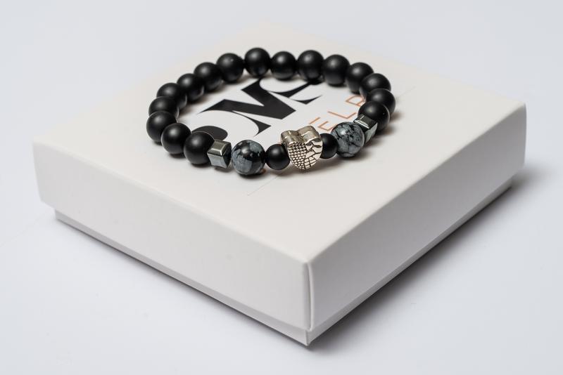 Браслет мужской DMS Jewelry из шунгита, гематита, обсидиана ALL WE NEED IS LOVE