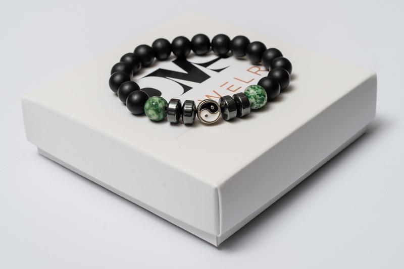 Браслет мужской DMS Jewelry из шунгита, гематита, агата GREEN AGATE YIN YAN