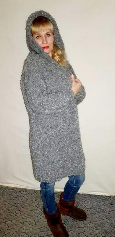 Кардиган серый длинный с капюшоном Оверсайз,  серый Букляшик