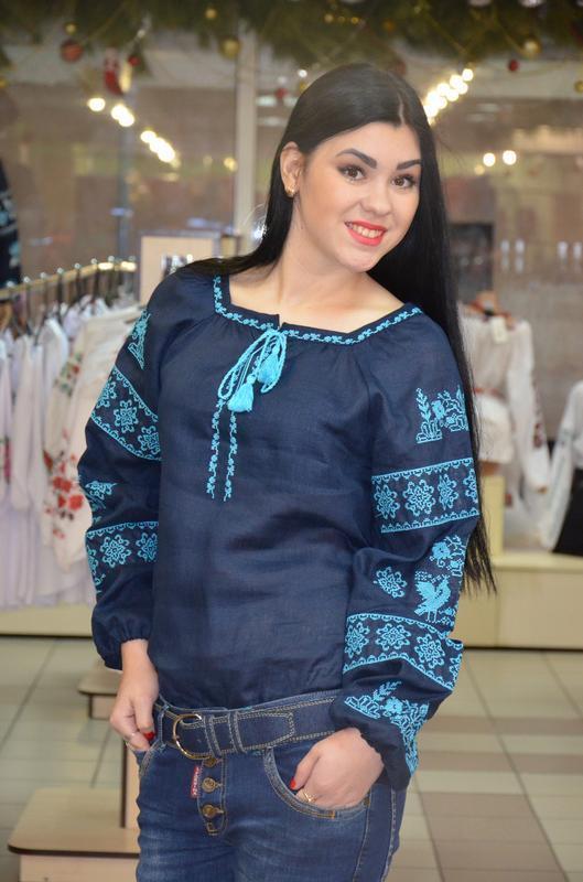 Синяя женская вышиванка