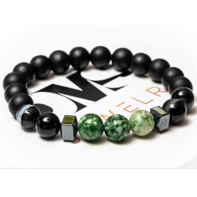 Браслет мужской DMS Jewelry из шунгита, гематита, агата BLACK AND GREEN AGATE