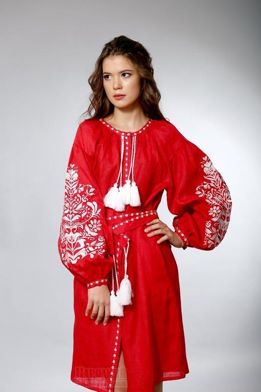 Красное вышитое платье в бохо-стиле 46 9b022b4043d97