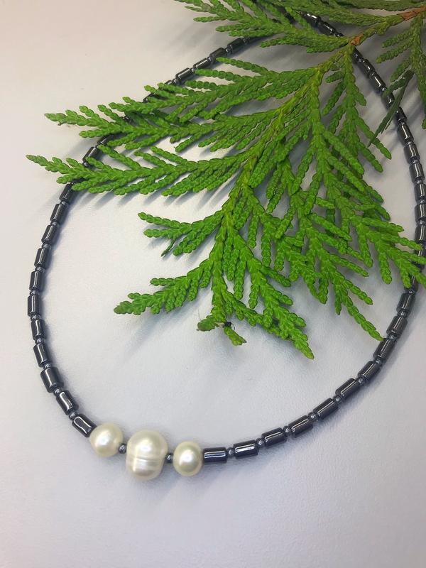 Намисто-чокер з гематитом та перлами