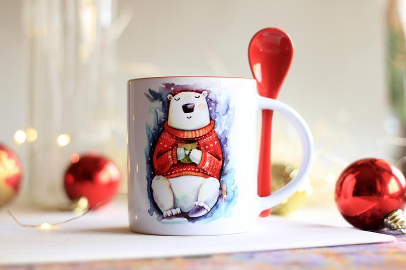 """Чашка с  принтом  """"Мишка в свитере"""""""