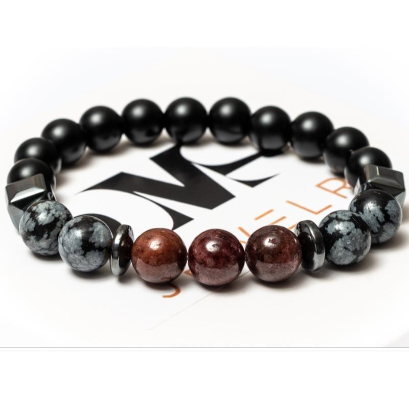 Браслет мужской DMS Jewelry из шунгита, обсидиана, граната  POWER OF SCORPION
