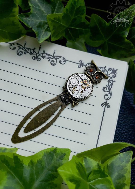 (наличие март) Закладка для книги/блокнота совушка с настоящим часовым механизмом прошлого века