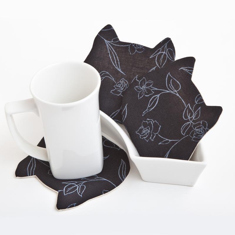 Черные льняные подставки под чашки, 4 шт. в наборе