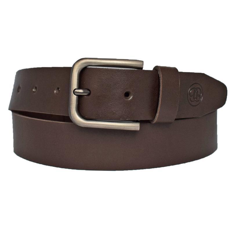 Кожаный мужской коричневый ремень под джинсы Basic
