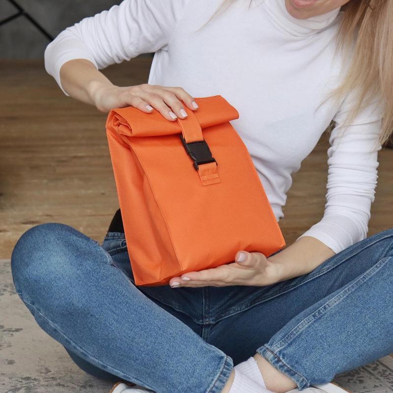 Яркий оранжевый ланч бэг для девушки