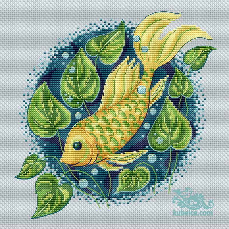 """Авторская схема для вышивки крестиком """"Волшебная рыбка"""" 20*20 см"""