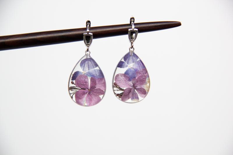 Серьги с гортезией (розово-синие сережки, сережки с розовыми цветами)