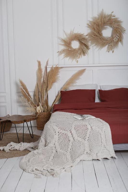 Крафтова Постельное белье из 100% льна Indian red