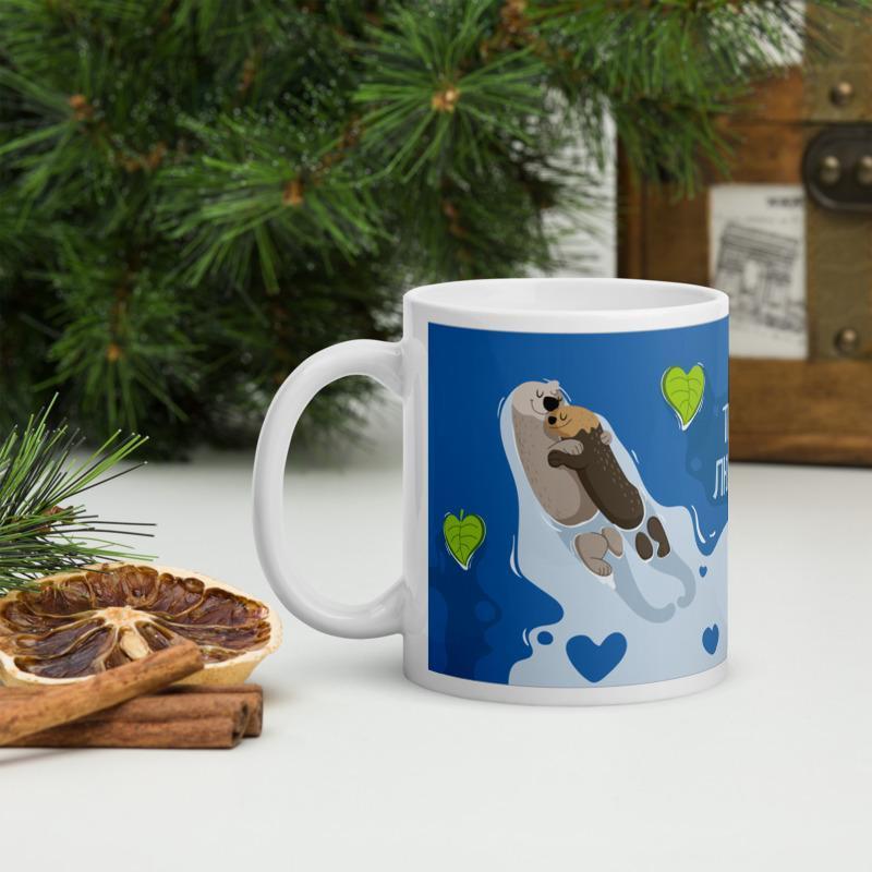 Кружка в подарок ко Дню влюбленных (Влюбленные выдры), Чашка с рисунком