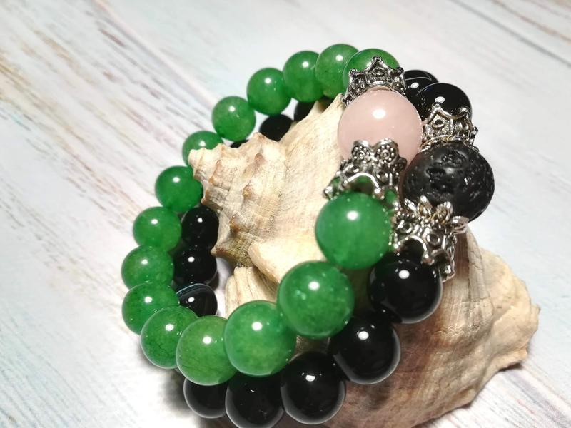 Парные браслеты из натурального камня, Сет браслетов из Агата и Нефрита \ Sb - 0199