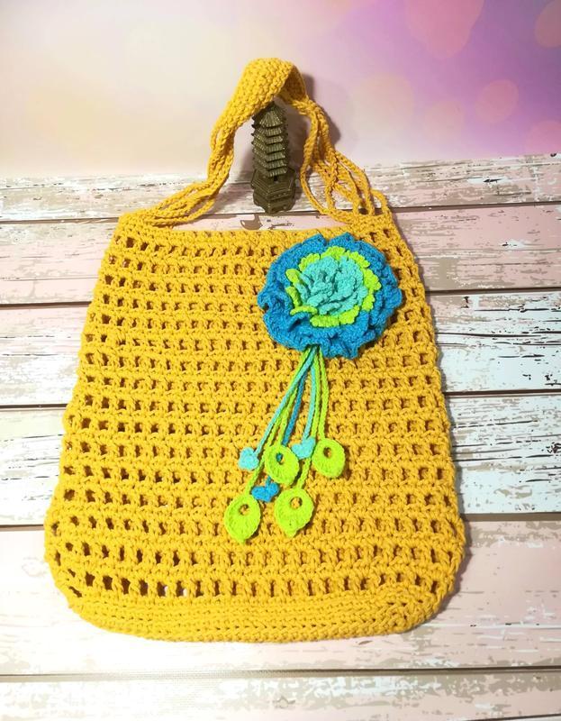Эко сумка авоська с цветком, сумка шоппер желтая, стильная сумка авоська