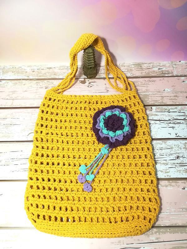 Эко сумка авоська с цветком, эко сумка шоппер, стильная сумка авоська
