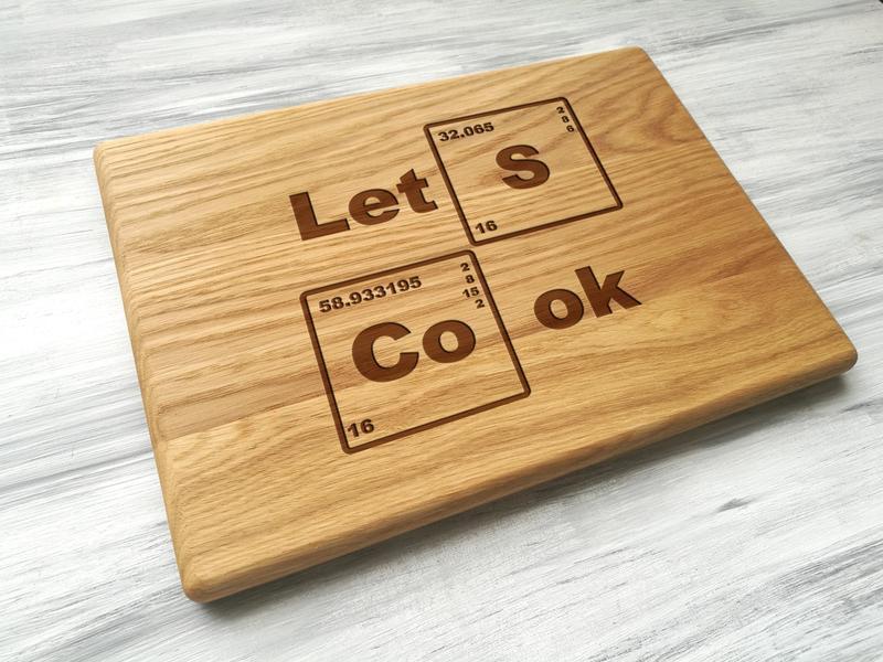 """Обробна дошка з дуба """"let's cook"""""""