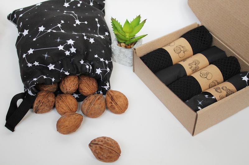Набор черных эко мешочков киев, многоразовые мешочки, корпоративные подарки, мешочки для фруктов