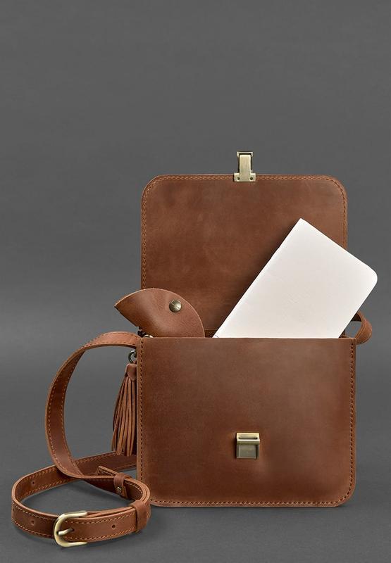 Кожаная женская бохо-сумка Лилу светло-коричневая Crazy Horse