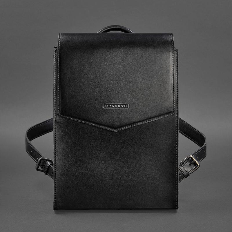 Кожаный городской рюкзак угольно-черный