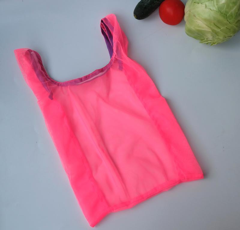 "Эко пакет ""маечка"" из сетки розовая, эко сумка, эко пакет zero weste"