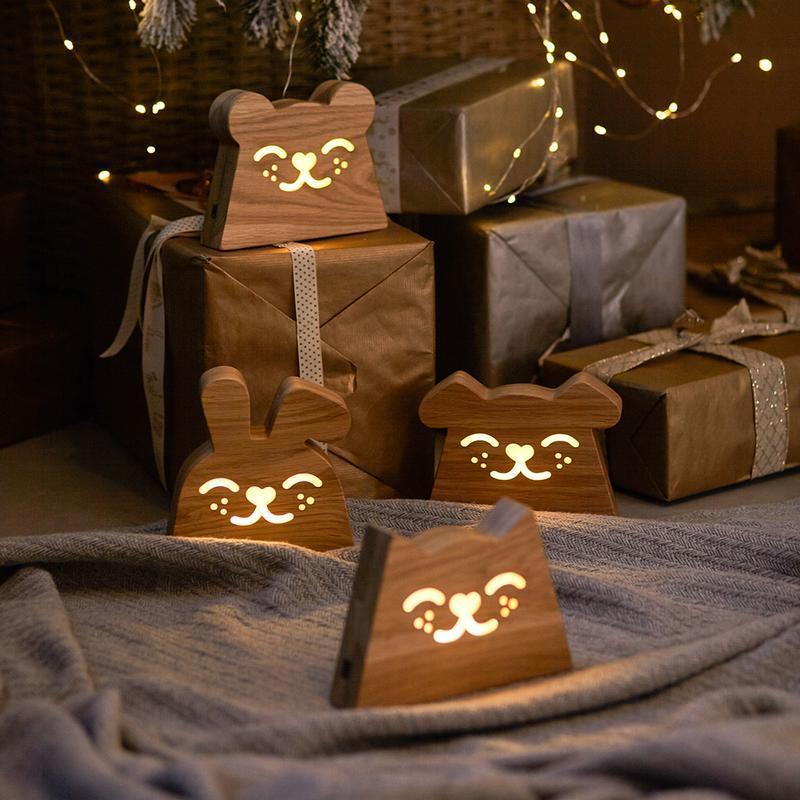 Дизайнерский деревянный ночник / светильник Ory Зайчик с индивидуальной гравировкой