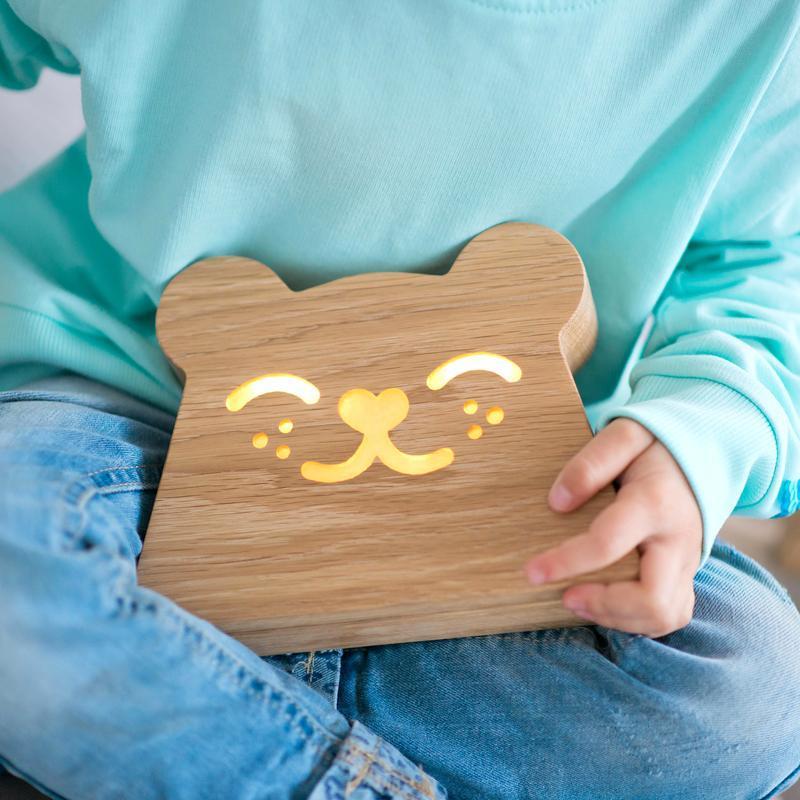 Дизайнерский деревянный ночник / светильник Ory Мишка с индивидуальной гравировкой