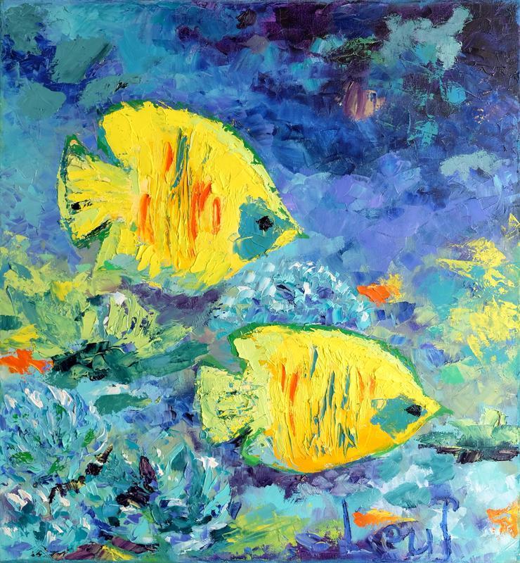 """Картина из морской серии """"Рыбы подружки"""""""